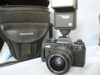 *  NICE SET * Praktica BX20 SLR Camera + 35-70mm Lens + BD24 Flash + Carry Case £29.99